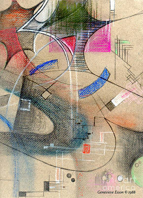 Colored Pencil Abstract Painting - Color Pencil Abstract On Pastel Paper by Genevieve Esson