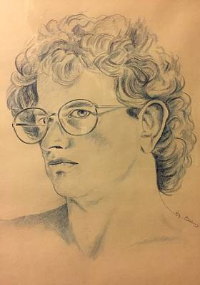 Painting - Youth  Color Pencil Self Portrait by Randy Burns
