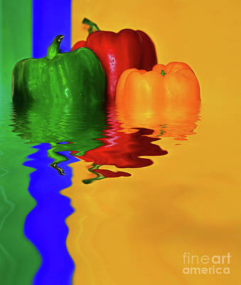 Print featuring the photograph Color Pop Peppers By Kaye Menner by Kaye Menner