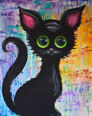 Color Rain And A Cat Art Print