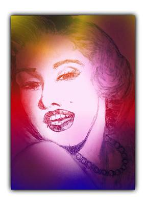 Drawing - Color Rendition Of Marilyn Monroe #2 by Dayna Winters
