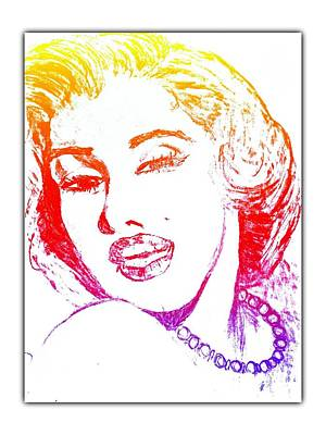 Drawing - Color Rendition Of Marilyn Monroe by Dayna Winters