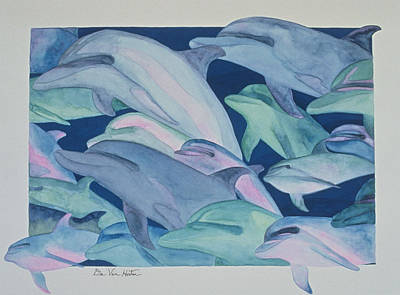 Painting - Dolphin Color Rhythms by Dee Van Houten