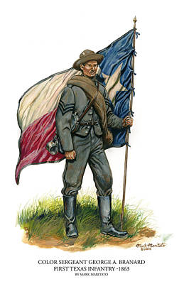 Color Sergeant George A. Branard - First Texas Infantry Original by Mark Maritato
