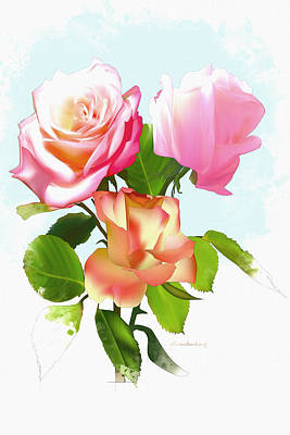 Outdoor Still Life Digital Art - Color Series- The Roses Flowers For Weddings by Don Kuing