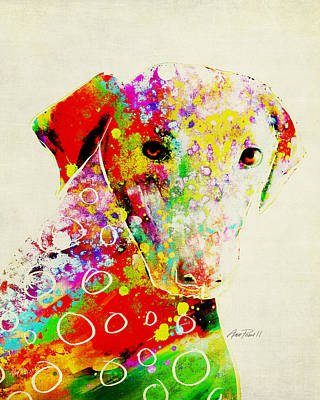 Digital Art - Color Splash Dog - Animal Art  by Ann Powell