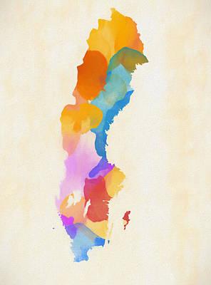 Painting - Color Splash Sweden Map by Dan Sproul