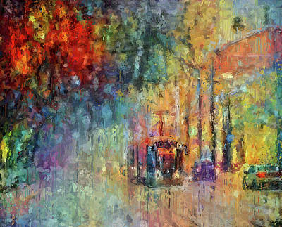 Digital Art - Color Street On Nasty Weather by Yury Malkov
