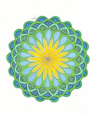 Wall Art - Drawing - Color Study Flower Mandala by Jeanette Clawson