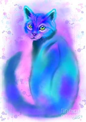 Art Print featuring the painting Color Wash Cat by Nick Gustafson