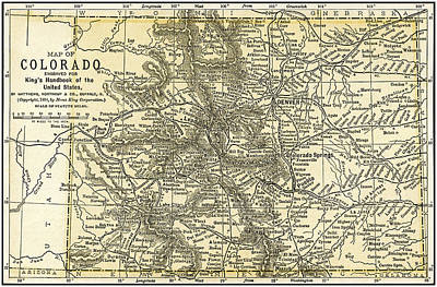 Photograph - Colorado Antique Map 1891 by Phil Cardamone