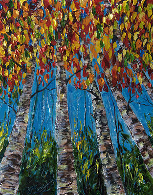 Painting - Colorado Autumn  Palette Knife  by OLena Art Brand