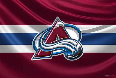 Digital Art - Colorado Avalanche - 3 D Badge Over Silk Flag by Serge Averbukh
