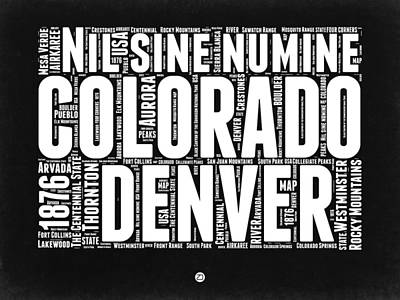Colorado Black And White Word Cloud Map Art Print by Naxart Studio