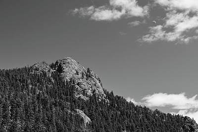 Photograph - Colorado Buffalo Rock With Waxing Crescent Moon In Bw by James BO Insogna