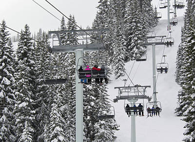 Snowboarder Photograph - Colorado Chair Lift During Winter by Brendan Reals