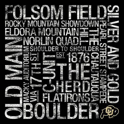 Word Art Photograph - Colorado College Colors Subway Art by Replay Photos