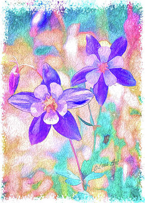 Painting - Colorado Columbine Flower by OLena Art Brand