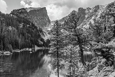Photograph - Colorado Dream Lake And Hallet Peak Monochrome by Gregory Ballos