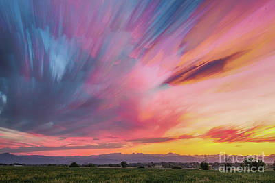 Photograph - Colorado Front Range Crazy Sunset Timed Stack by James BO Insogna