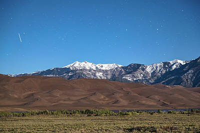 Photograph - Colorado Great Sand Dunes With Falling Star by James BO Insogna