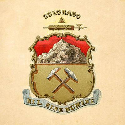 Colorado Historical Coat Of Arms Circa 1876 Art Print by Serge Averbukh
