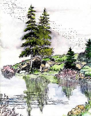 Mixed Media - Colorado Lake Reflections by Dale E Jackson