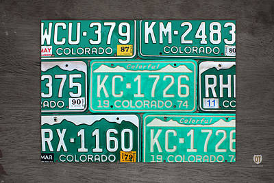 Colorado License Plate Map Recycled Car Tag Art Art Print