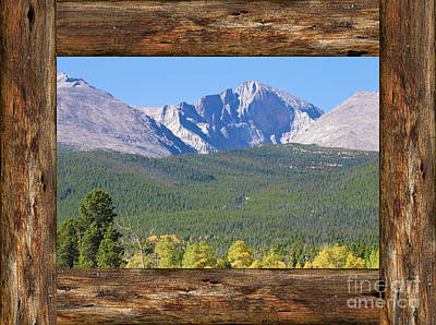 Colorado Longs Peak Rustic Wood Window View Art Print