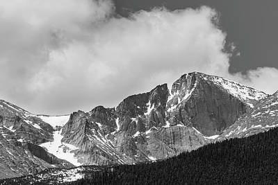 Photograph - Colorado Longs Peak West Face In Monochrome by James BO Insogna