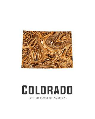 Flow Mixed Media - Colorado Map Art Abstract In Brown by Studio Grafiikka