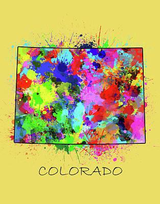 Splatter Digital Art - Colorado Map Color Splatter 3 by Bekim Art