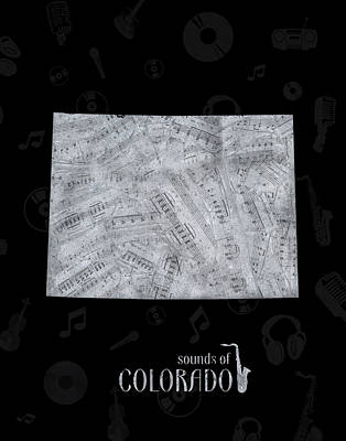 Jazz Royalty Free Images - Colorado Map Music Notes 2 Royalty-Free Image by Bekim M