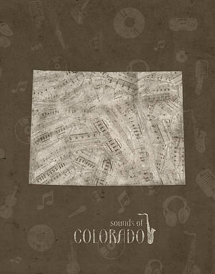 Jazz Royalty-Free and Rights-Managed Images - Colorado Map Music Notes 3 by Bekim Art