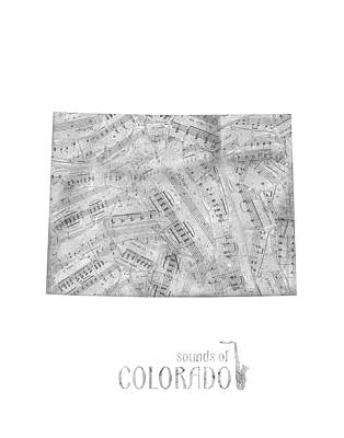 Music Royalty-Free and Rights-Managed Images - Colorado Map Music Notes by Bekim Art