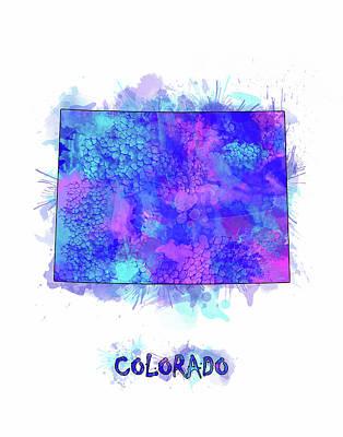Watercolor Map Digital Art - Colorado Map Watercolor 2 by Bekim Art