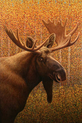 Aspen Painting - Colorado Moose by James W Johnson