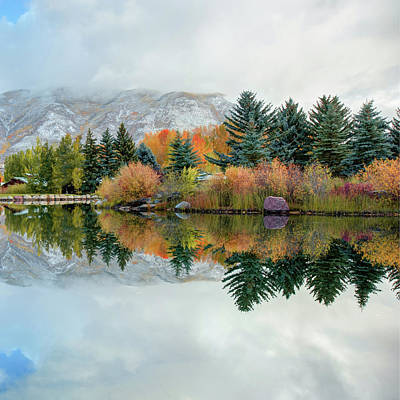 Colorado Ski Art Wall Art - Photograph - Colorado Mountain Autumn Reflections 1x1 by Gregory Ballos