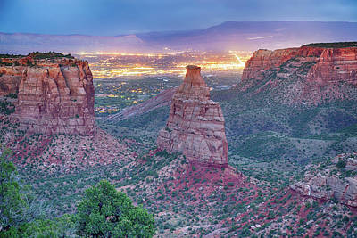Photograph - Colorado National Monument Park And City Lights by James BO Insogna