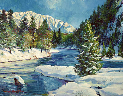 Snow Scene Painting - Colorado Pines by David Lloyd Glover