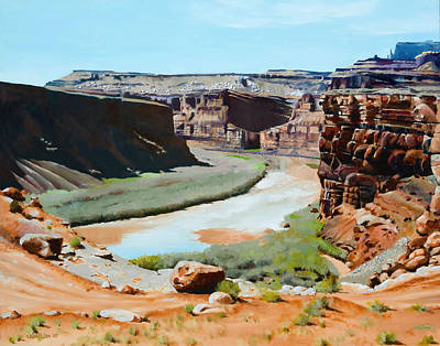 Colorado River Bend Art Print by Lester Nielsen