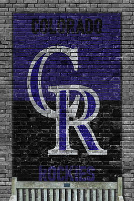 Baseball Painting - Colorado Rockies Brick Wall by Joe Hamilton