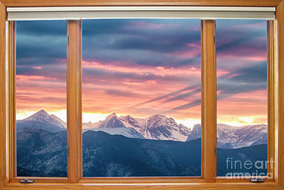 Photograph - Colorado Rocky Mountain Sunset Waves Classic Wood Window View 2 by James BO Insogna