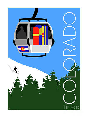 Digital Art - Colorado Ski Country Blue by Sam Brennan
