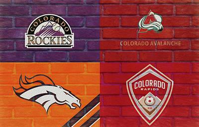 Mixed Media - Colorado Sports Teams On Brick by Dan Sproul