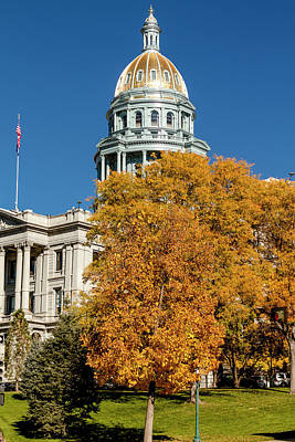 Colorado State Flag Photograph - Colorado State Capitol Building by Teri Virbickis