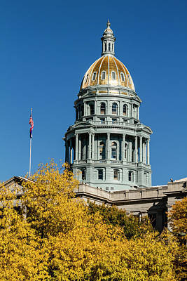 Colorado State Flag Photograph - Colorado State Capitol In Denver Co by Teri Virbickis