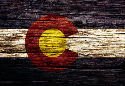 Ski Mixed Media - Colorado State Flag 3w by Brian Reaves
