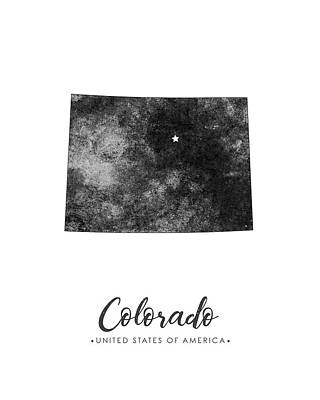 Geography Mixed Media - Colorado State Map Art - Grunge Silhouette by Studio Grafiikka