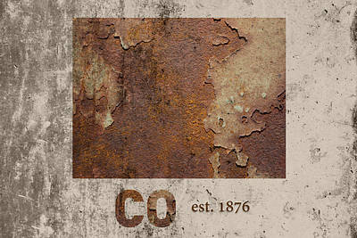 Cement Mixed Media - Colorado State Map Industrial Rusted Metal On Cement Wall With Founding Date Series 038 by Design Turnpike